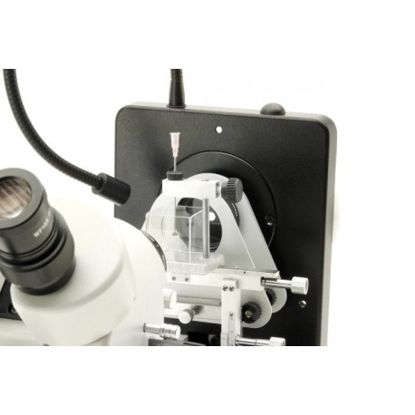 Estereomicroscopio trinocular gemológico, estativo inclinable
