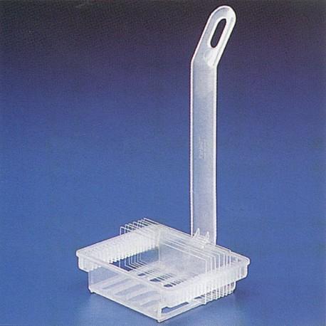 Cestilla para la tincion de los preparados, de 20 puestos, para sumergir en el recipiente cod. 353
