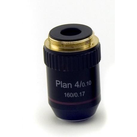 Objetivo plano acromático 4x