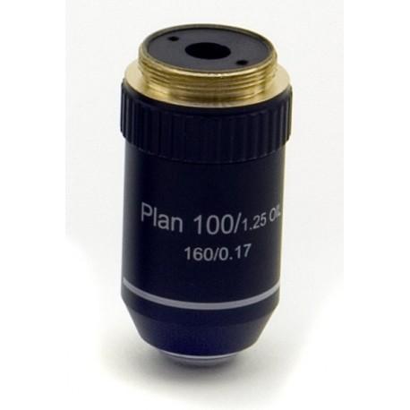 Objetivo plano acromático 100x
